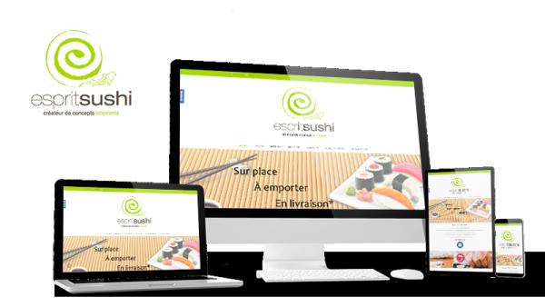 Réalisation du site Esprit Sushi par Solutions Graph'us, agence web, création de sites et de logos  à Brignoles (83)